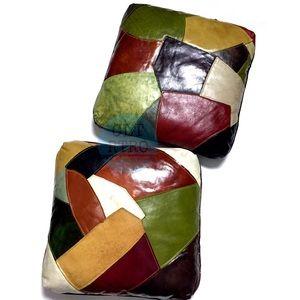 (2) 70s vtg Patchwork Pillows